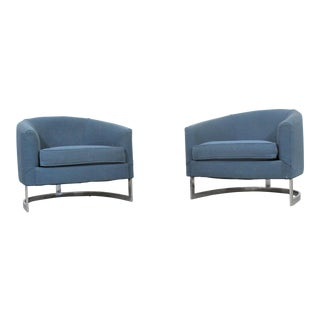 Pair of Mid Century Modern Barrel Back Club Chairs by Finn Anderson for Selig For Sale
