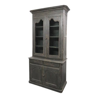 19th Century French Distressed Painted Cupboard For Sale
