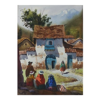 Fine Watercolor From Peru Depicting a Folkloric Scene For Sale