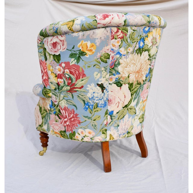 1980s Baker Furniture Floral Tufted Wingback Chair on Brass Casters For Sale - Image 5 of 13