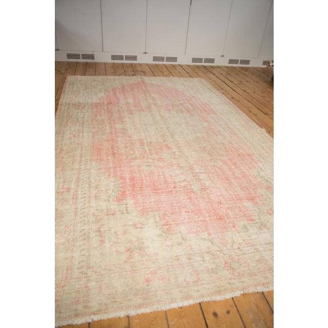 "Pink Vintage Distressed Oushak Carpet - 6'2"" X 10'8"" For Sale - Image 8 of 13"