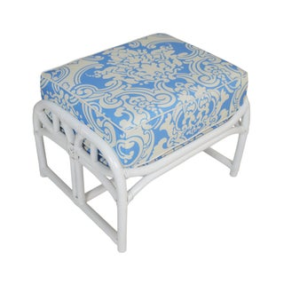 Ficks Reed White Ottoman With Blue & White Fabric For Sale
