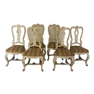 Vintage French White-Washed Carved Dining Chairs - Set of 6 For Sale
