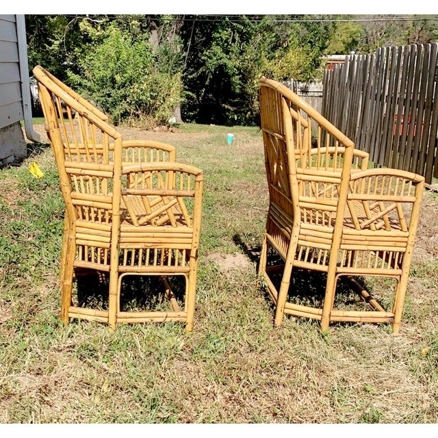 Tan Antique Chinese Bamboo Chairs - A Pair For Sale - Image 8 of 13