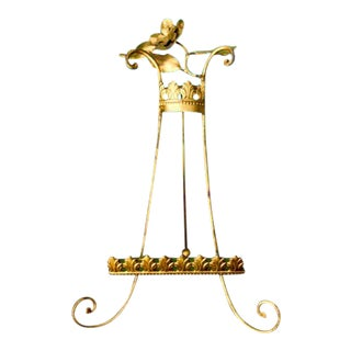 Gold Tole Floral and Fleur de Lis French Easel For Sale