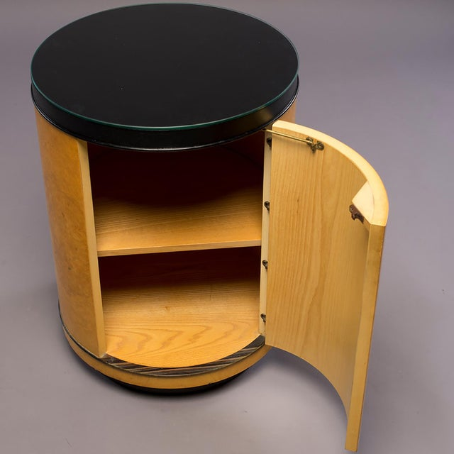 1970s Mid Century Olive Wood Drum Table Cabinet For Sale - Image 5 of 6