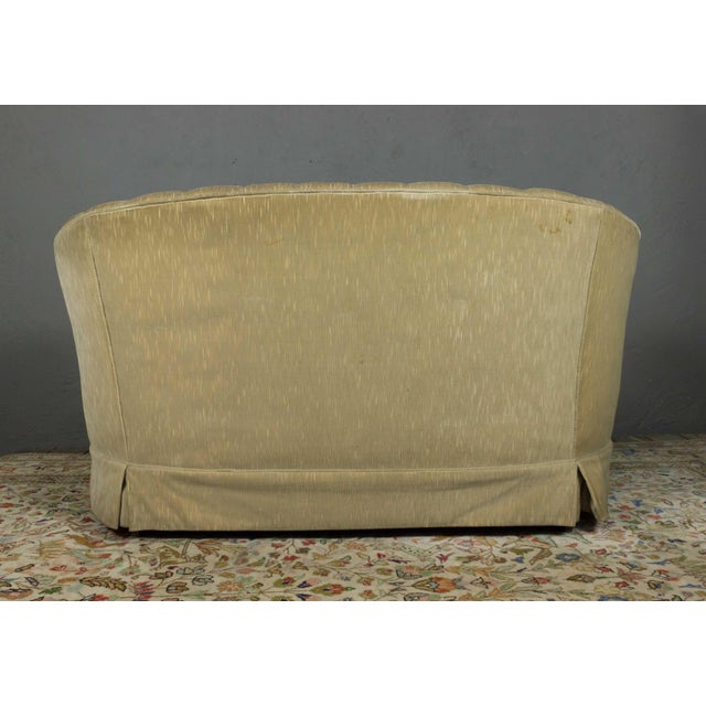 Textile Small Tufted Sofa With Loose Seat Cushion For Sale - Image 7 of 10