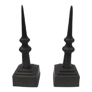 Rubbed Bronze Spires Sculptures - A Pair