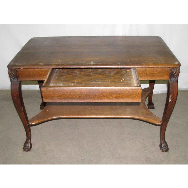 Antique Tiger Oak Table with Cabriole Legs For Sale - Image 4 of 10