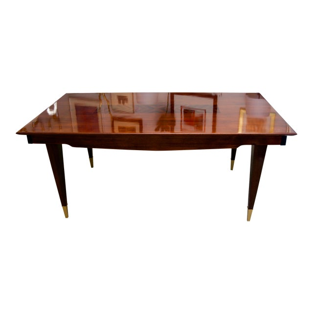 French Art Deco Rectangular Dining Table in Zebrano Wood For Sale