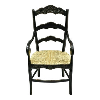 French Country Style Shell Carved Ladder Back Seat Black Dining Arm Chair For Sale