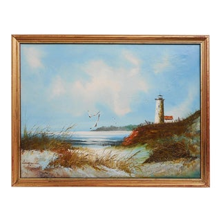 Late 20th Century Vintage French Lighthouse Seascape Painting For Sale