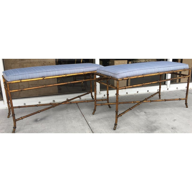 Vintage Faux Bamboo Base Benches - A Pair - Image 3 of 5