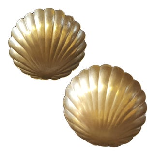 Brass Footed Shell Dishes- 2 pc