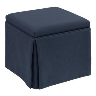 Skirted Storage Ottoman in Linen Navy