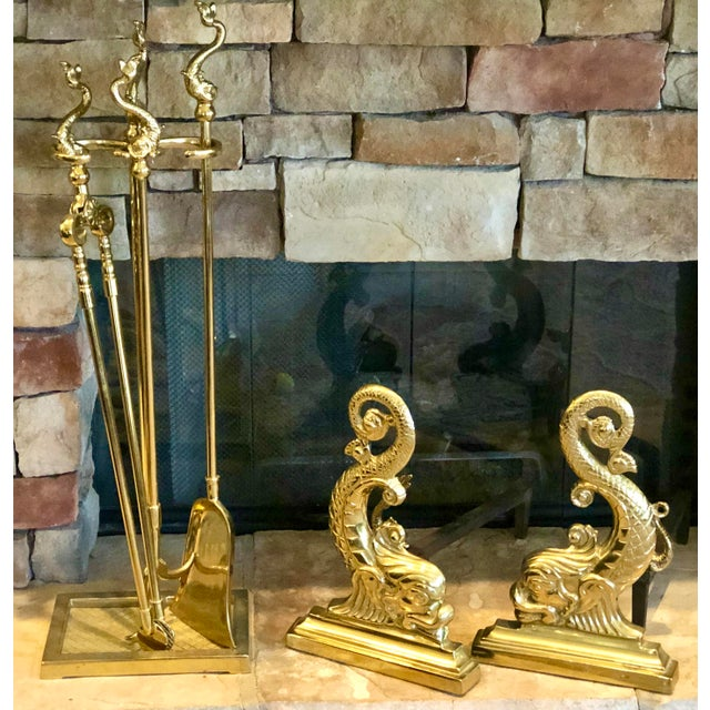 This lovely rare set was crafted by Virginia Metalcrafters in the 1960's from solid brass. This set is lacquered and in...