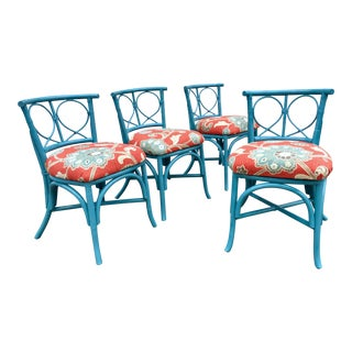 1980s Cottage Style Blue Rattan Chairs - Set of 4