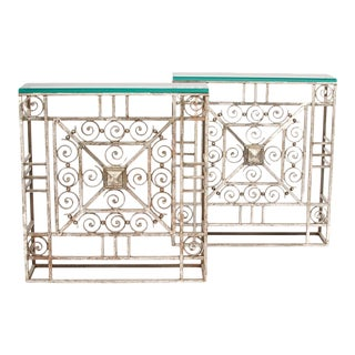 1930s French Art Deco Wrought Iron and Glass Console Tables - a Pair For Sale