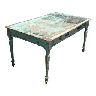 Antique 19th Century French Country Farmhouse Desk Table Distressed Crackle For Sale