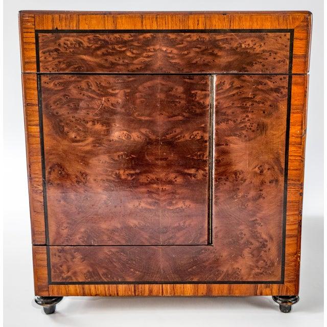 Gold Antique French Tantalus Burlwood Hidden Liquor Cabinet & Glasses - Set of 8 For Sale - Image 8 of 12