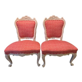 19th Century Antique French Slipper Chairs- A Pair For Sale