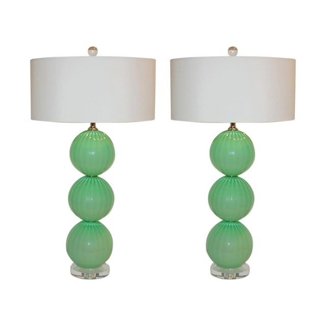 Joe Cariati Hand Blown Glass Ball Table Lamps Green For Sale - Image 10 of 10