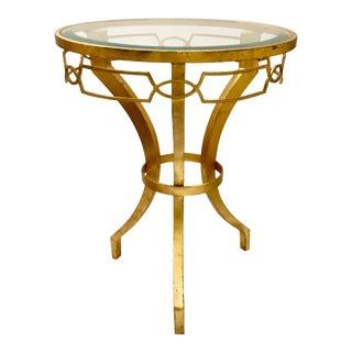 Arteriors Modern Gold Leaf Finished Cinched Waist Side Table For Sale