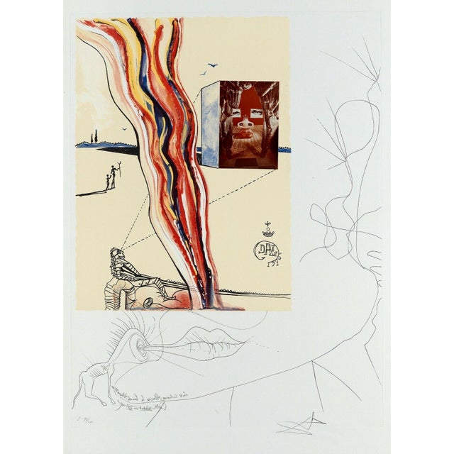 """1975 """"Liquid & Gaseous Television"""" Limited Edition Lithograph & Collage After Salvador Dali For Sale"""