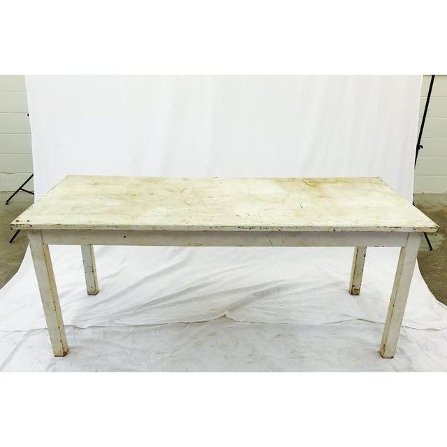 Vintage and primitive white wooden factory table. From North Carolina Textile Mill. Industrial chic. Ruff n Tumble and...