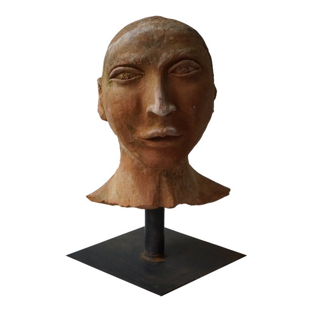 Vintage Terra Cotta Bust on Iron Stand For Sale