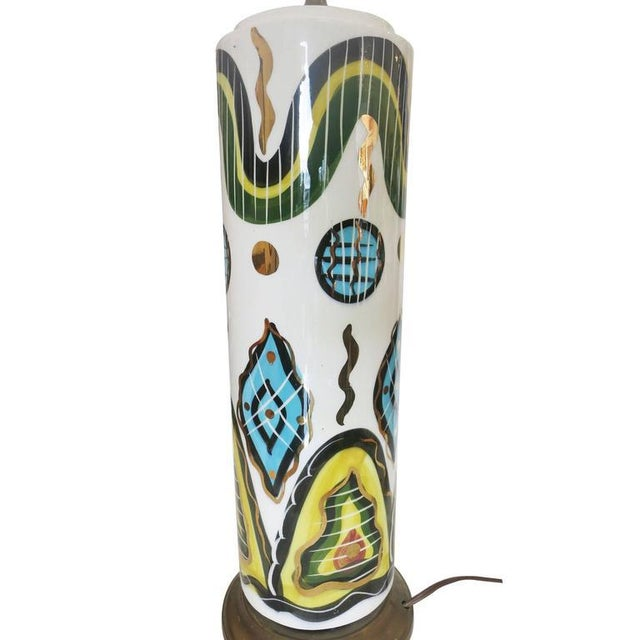 Mid-Century Modern Hand-Painted Modernist California Pottery Table Lamp by Sascha Brastoff For Sale - Image 3 of 6