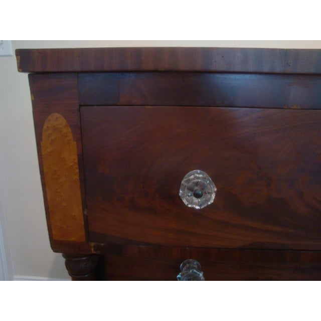 Glass 19thC Antique Burl & Walnut Empire Chest of Drawers For Sale - Image 7 of 12