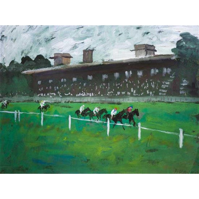 Absolutely gorgeous vibrant green painting depicting a fast paced horse race at a spectator-filled track. It is vibrant...