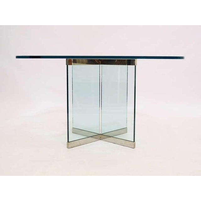 1970s Glass & Chrome Dining Table by Leon Rosen for Pace Collection For Sale - Image 5 of 10