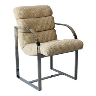 Chrome Channel Tufted Milo Baughman Armchair For Sale