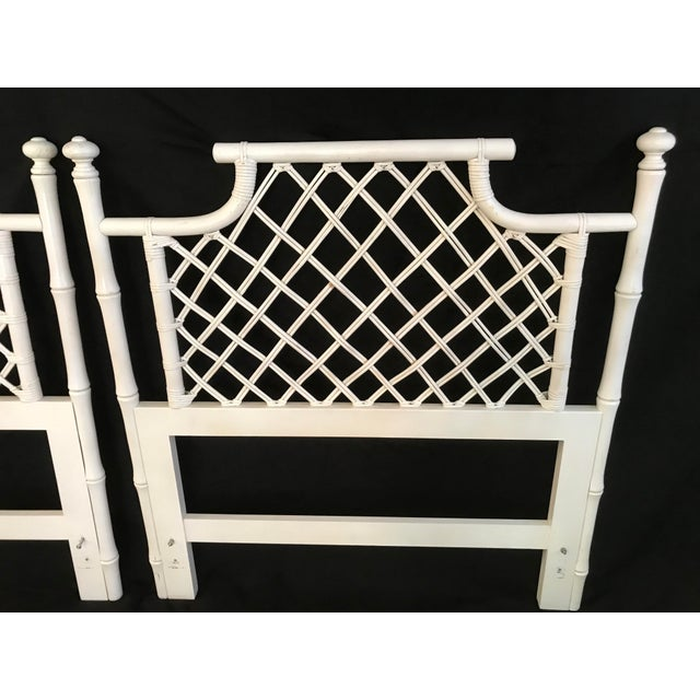 1970s Ficks Reed Twin or King Faux Bamboo Hollywood Regency Pagoda Headboards - a Pair For Sale - Image 6 of 13