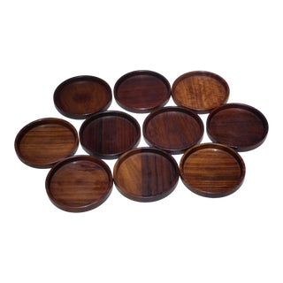 1960s Danish Modern Rosewood Coasters - Set of 10 For Sale