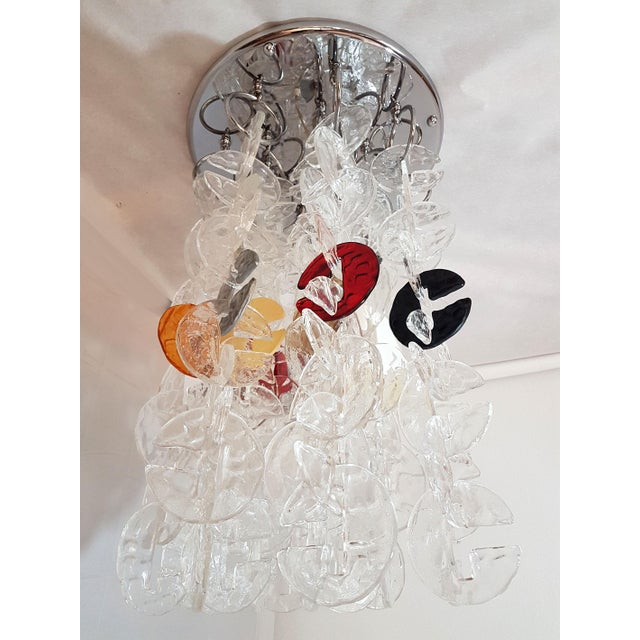 Contemporary Mid Century Modern Mazzega Chrome & Murano Glass Chandelier For Sale - Image 3 of 12