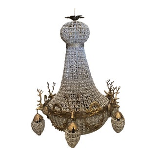 1970s Bronze Deer Head Chandelier With Stag Details For Sale