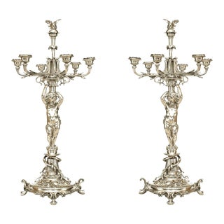 Pair of French Victorian Silver Plated Candelabras For Sale