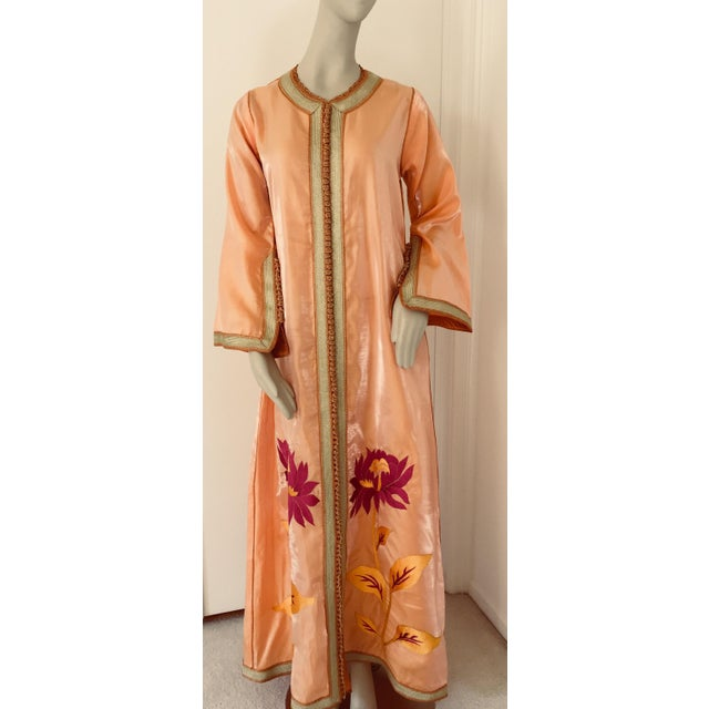 Moroccan Vintage Caftan 1970s Kaftan Maxi Dress Orange With Floral Embroideries For Sale - Image 12 of 12
