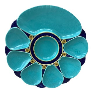 19th Century Majolica Aqua Oyster Plate Minton For Sale