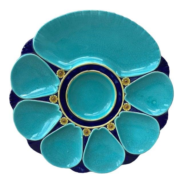 19th Century Majolica Aqua Oyster Plate Minton For Sale