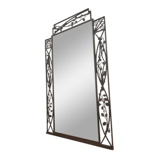 Art Deco 1920's Trumeau Over Mantel Mirror in White Bronze For Sale