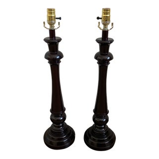 Dark Brown Table Lamps - a Pair For Sale