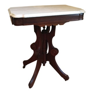 Eastlake Victorian Marble Top Table For Sale