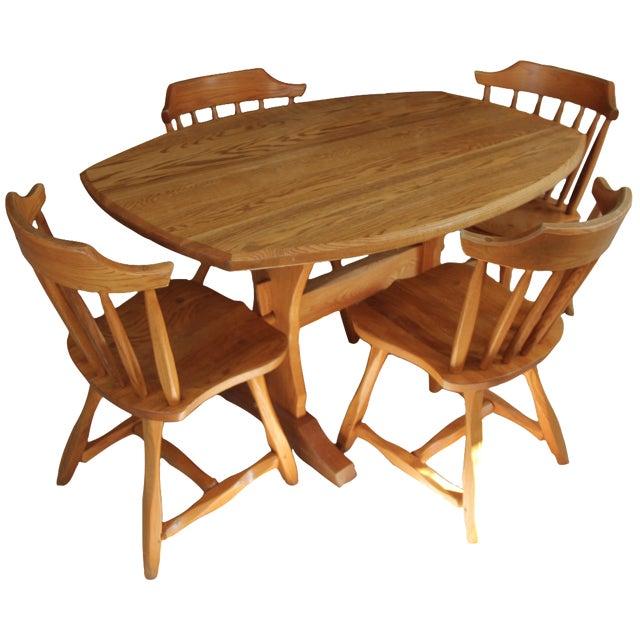 Hunt Country Furniture Oak Trestle Dining Set - Image 1 of 5