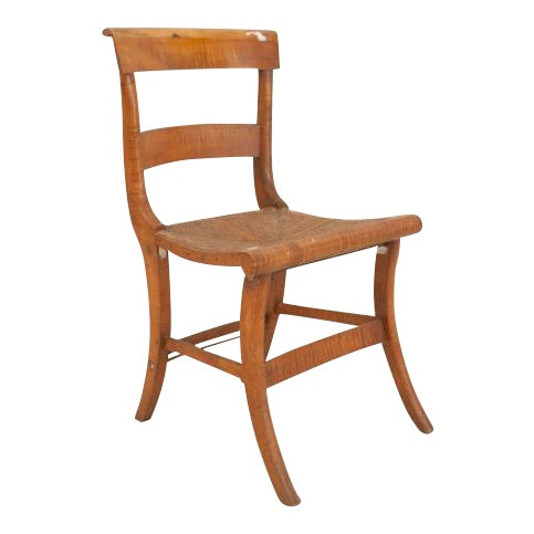 19th Century American Country Federal style tiger maple side chairs- Set of 4 For Sale