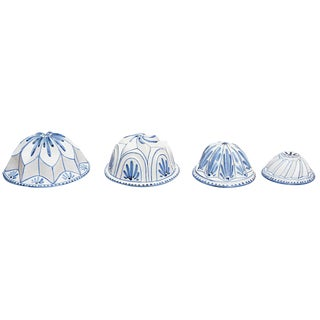 Four Blue and White Faience Cooking Molds For Sale