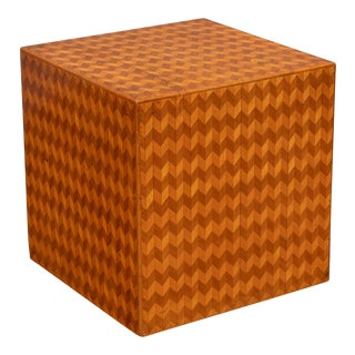 Parquetry Cube Form Side Table For Sale